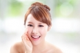 happy woman with health skin talk to you